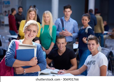 happy students group  study in classroom