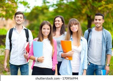 Happy students outdoor