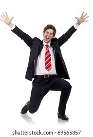Happy successful business man isolated over white