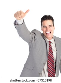 Happy successful businessman. Isolated over white background
