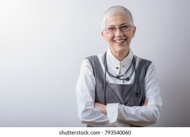 Happy and successful senior elderly lady portrait