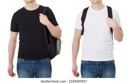 Happy successful young guy in blank white black summer t shirt isolated. Template mockup t-shirt background. T-shirt set collage. Education study concept. Man with backpack. Copy space, summer clothes