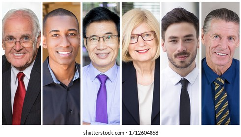Happy successful young and mature businesspeople portrait set. Smiling men and women of different ages and races multiple shot collage. Business people concept