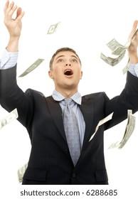happy successfull businessman in money rain over white