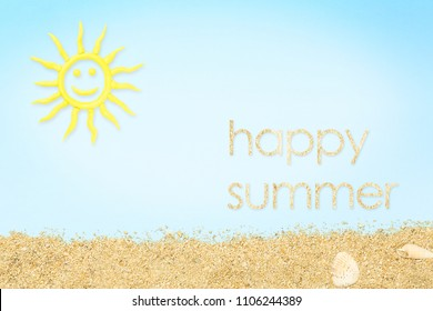 happy summer concept with clay sun and sand and on blue paper surface