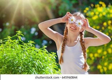 happy summer smiling flower girl