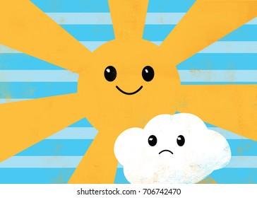 Happy Sun and Sad Cloud