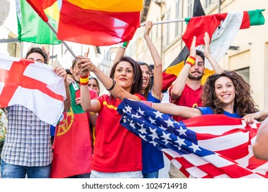 Happy supporters from different countries walking and chanting together. Fans from England, USA, Spain, Portugal and other countries enjoying sport together. Sport, respect and fair play concepts