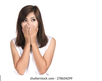 Happy surprised excited woman covering with hands her mouth with blank copyspace,Closeup portrait beautiful Asian woman,Thai girl,Positive human emotion facial expression,isolated on white background