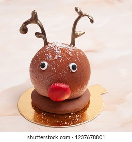 Happy sweet reindeer with red nose