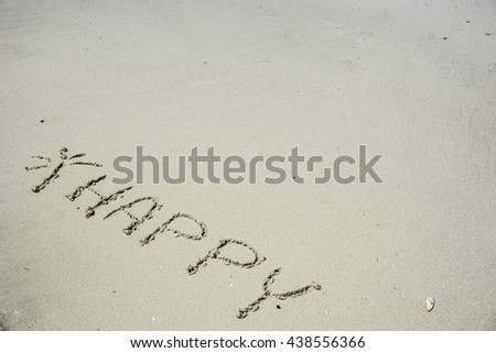 Happy Symbol On Beach Right Space Stock Photo (Edit Now) 438556366 ...