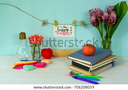 Happy teachers day concept calligraphy handwriting stock photo edit happy teachers day concept calligraphy handwriting greeting words for teachers on white card hanging on m4hsunfo