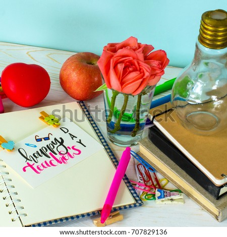 Happy teachers day concept calligraphy handwriting stock photo edit happy teachers day concept calligraphy handwriting greeting words for teachers on white card with symbols m4hsunfo