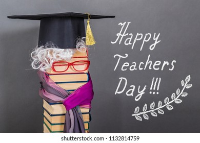 Happy teachers day funny education concept with unusual bright elderly woman is a teacher or professor with silver hair
