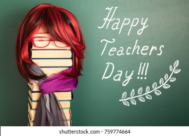 Happy teachers day funny education concept with Beautiful Teacher Girl with Luxurious Red Hair