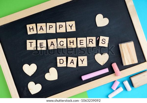 Happy Teachers Day Wording On Black Stock Photo (Edit Now