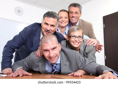 Happy team of business people