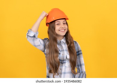 happy teen girl in helmet and checkered shirt, safety.
