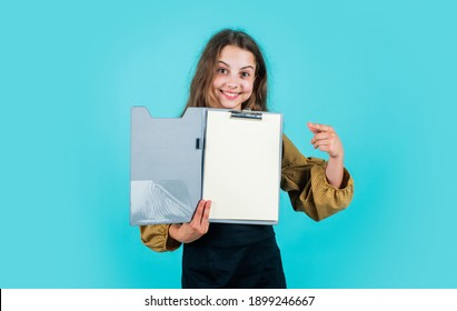 happy teen girl hold paper document folder, copy space, study.