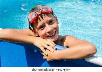 happy teen in swimming pool