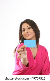 happy teenage girl with blank card