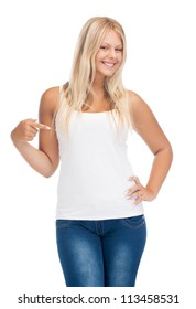 happy teenage girl in blank white t-shirt