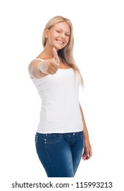 happy teenage girl in blank white t-shirt with thumbs up