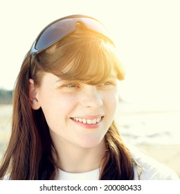 Happy Teenage Girl Portrait outdoor