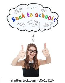 Happy teenage girl showing thumbs up isolated. Back to school concept