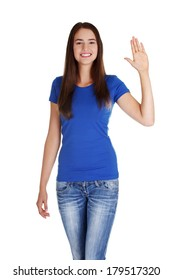 Happy teenage girl waving a greeting , isolated on white