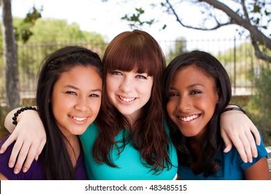 Happy teenage girls. Best friends.