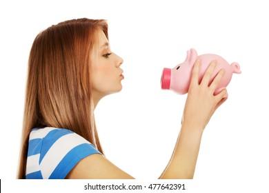 Wife kissing teen girl