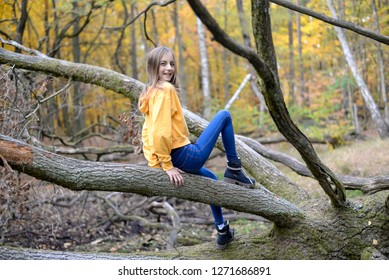 happy teenager in the forest