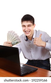Happy Teenager with Laptop and Money Isolated on the White Background