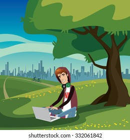 Happy teenager sitting under the tree in city park, using laptop and thinking bubble | raster version