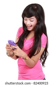 happy teenager text a message