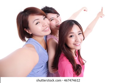 Happy teenagers woman taking pictures and show something by themselves isolated on white background, asian