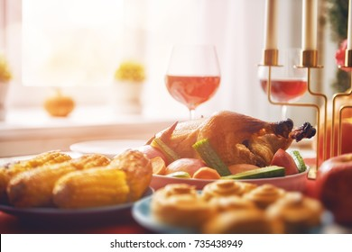 Happy Thanksgiving Day! Autumn feast. Family traditional dinner. Food concept. Celebrate holidays.
