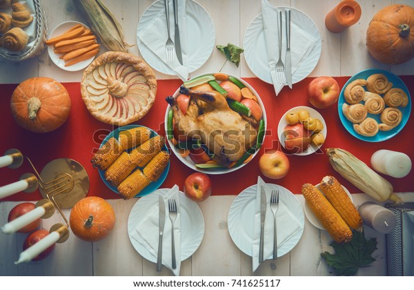 Happy Thanksgiving Day Autumn Feast Family Stock Photo Edit Now