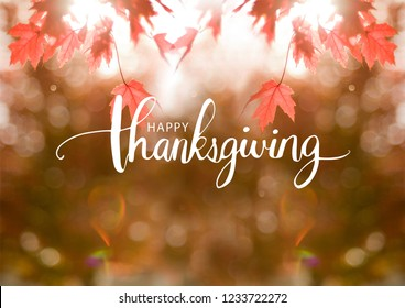 Happy Thanksgiving Greeting on Autumn leaves blur background