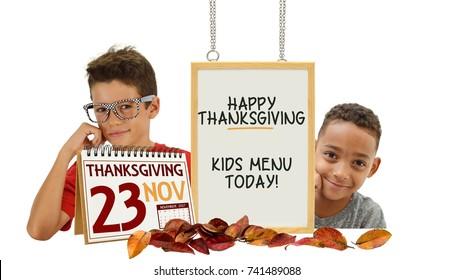 Happy Thanksgiving Kids Menu today Boys behind whiteboard calendar