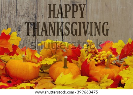happy thanksgiving message autumn leaves pumpkins stock photo edit