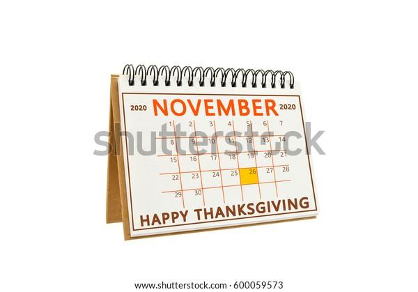 November 2020 Calendar Thanksgiving Happy Thanksgiving November 2020 Calendar Isolated Stock Photo