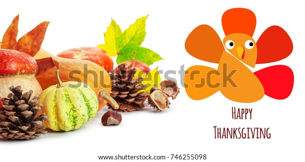 Happy Thanksgiving tag with autumn pumpkins