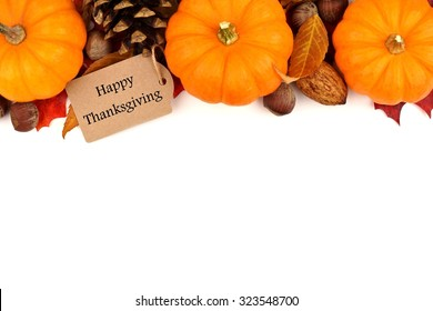 Happy Thanksgiving tag with autumn top border of pumpkins, leaves and nuts isolated on white