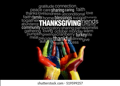 Happy Thanksgiving word collage with colorful hands black background