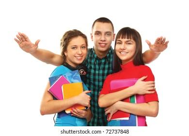 Happy three college friends