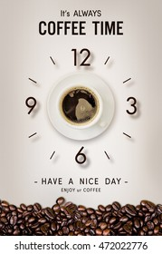 happy time. coffee cup and bean on vintage paper background. over light