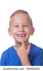 Happy toddler with minus one tooth