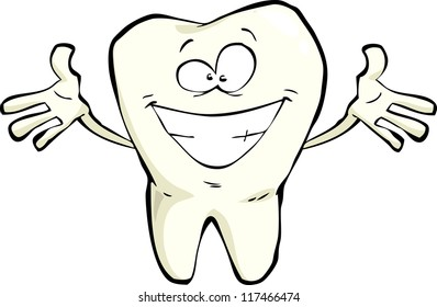 Happy tooth on a white background raster version